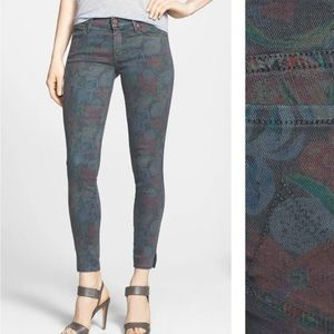 "Mother jeans ""the vamp"" floral crop skinny jeans."